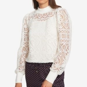 NWT 1. STATE Cropped Lace Top White
